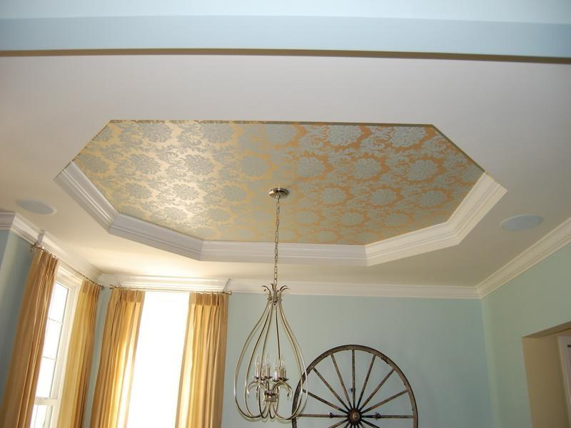 Tray Ceiling Design With Wallpaper