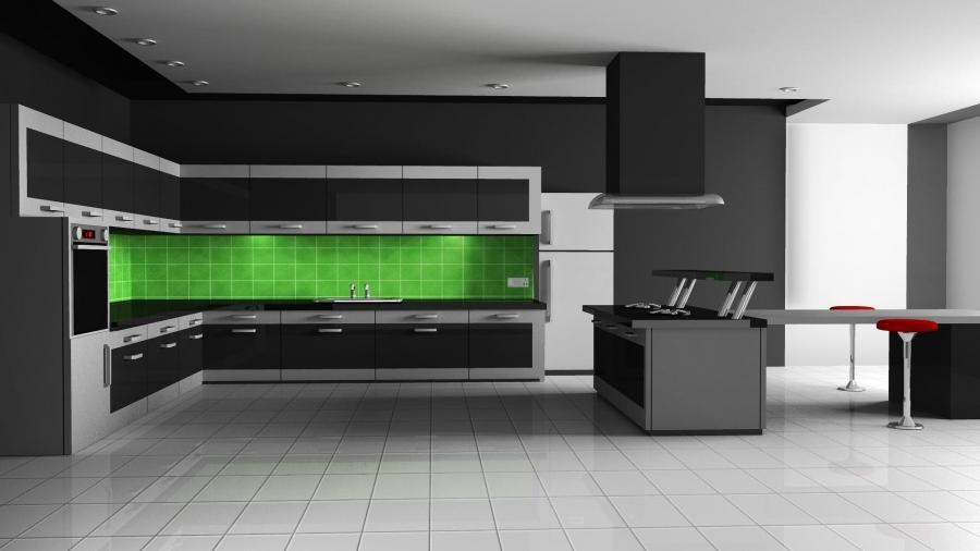 Дизайн зелено-черной кухни