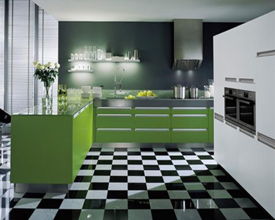 Green kitchen design photos for Green black white kitchen ideas