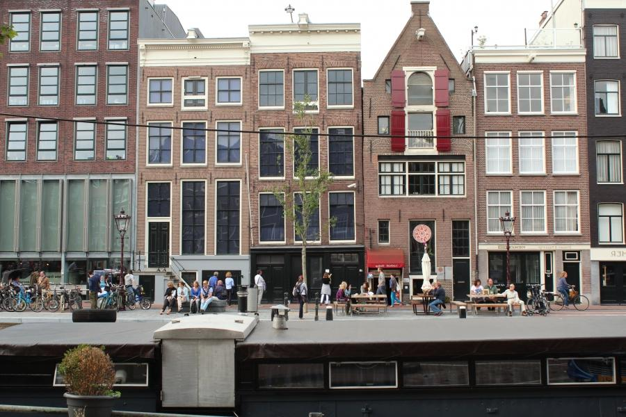 The Anne Frank house, where she and her family hid in a secret...