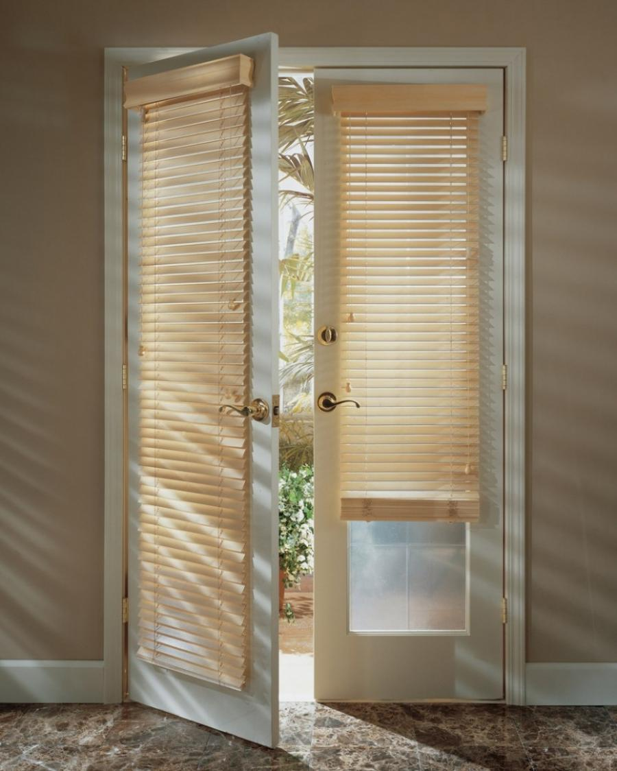 Motorized Window Shadings Covering French Doors