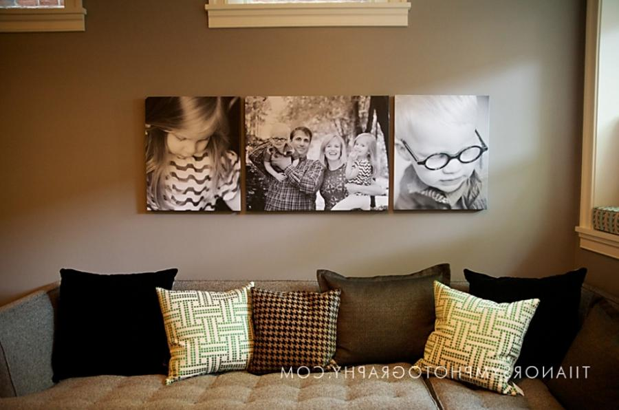 Displaying family photos living room