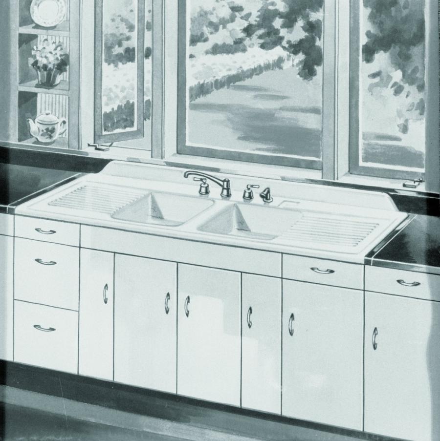 Vintage photo kitchen sinks