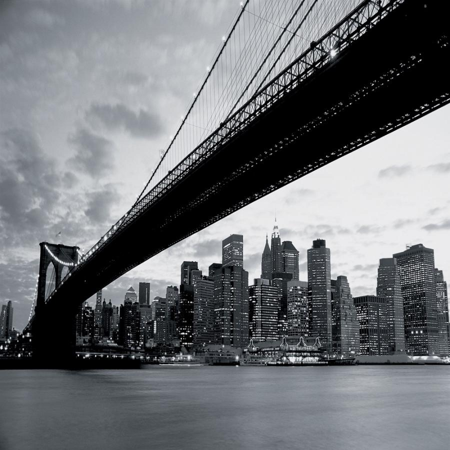 New york brooklyn bridge photo wallpaper wall mural for Brooklyn bridge black and white wall mural