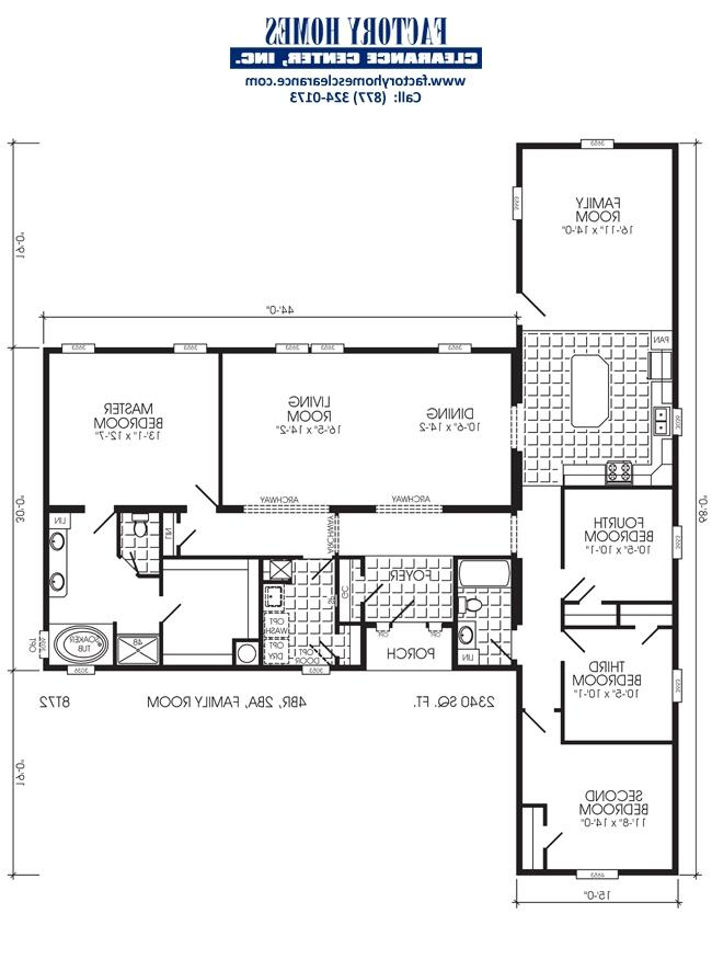 Triple wide floor plans photos for Double wide floor plans with basement