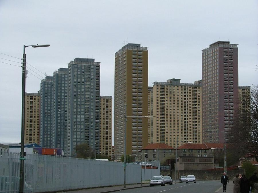The iconic 31-story Red Road estate in Glasgow, the tallest...