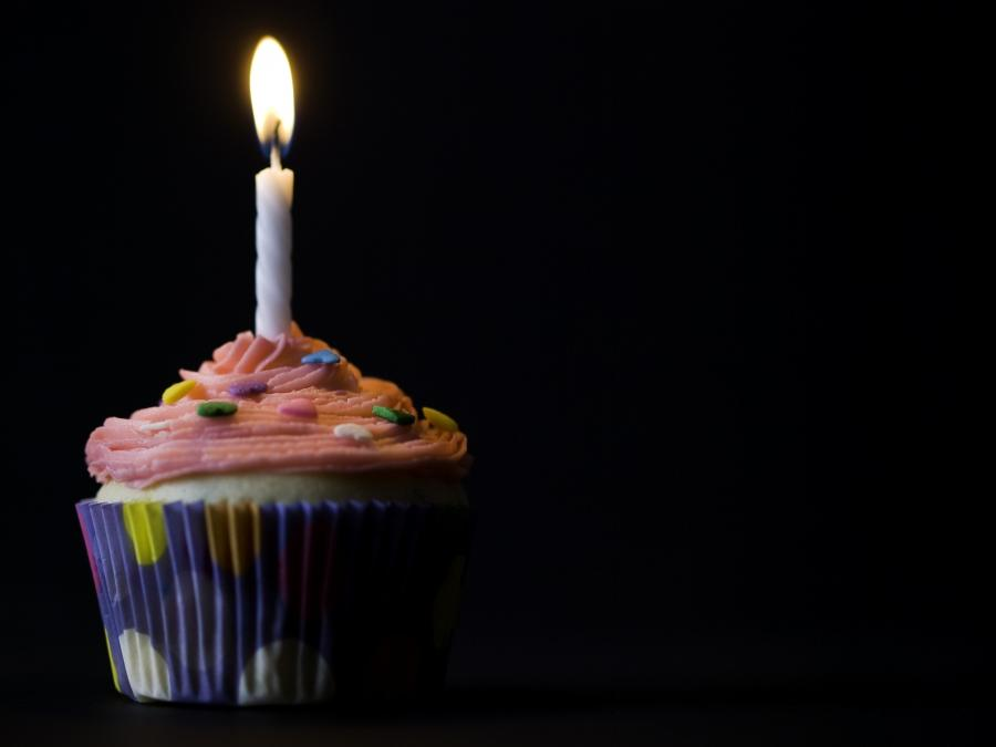 Cupcake With Candle Photo