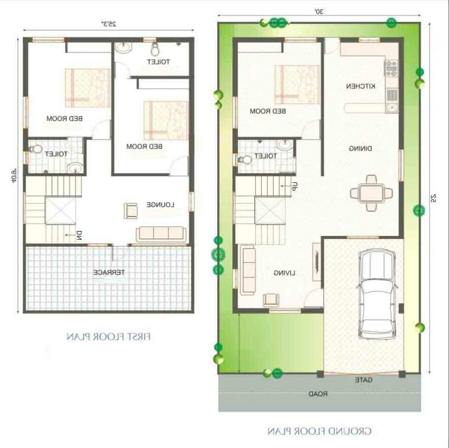Modern duplex house plans with photos for Duplex layout plan