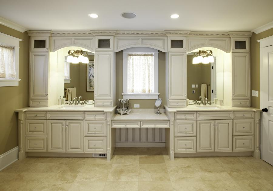 Another new trend in bathroom vanities is hanging the cabinets...