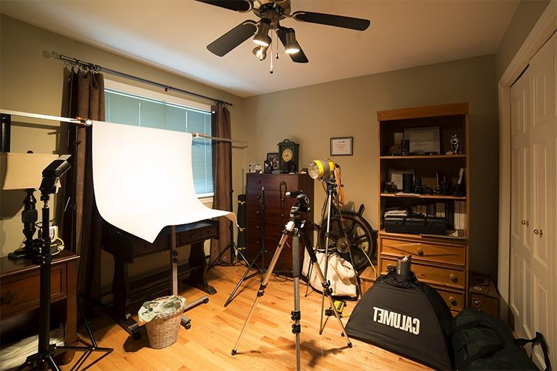 Hereu a photo of a temporary small studio set up in a spare...