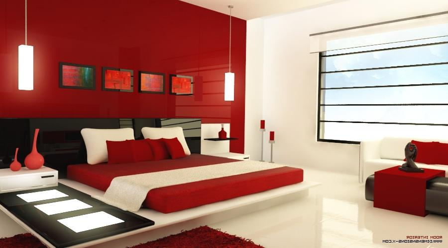 This ultra modern red bedroom, is accessorized with light...