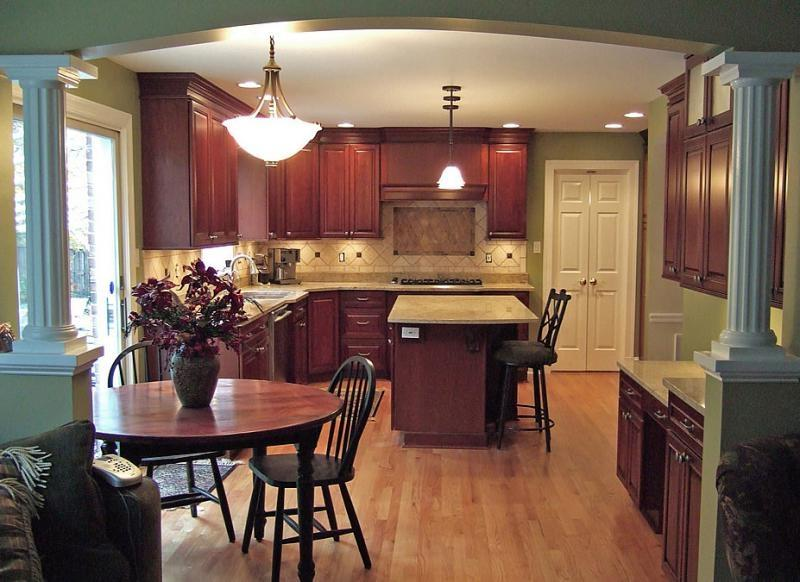 Kitchen, Amusing Kitchen Wood Floors With Multi Level Counters...