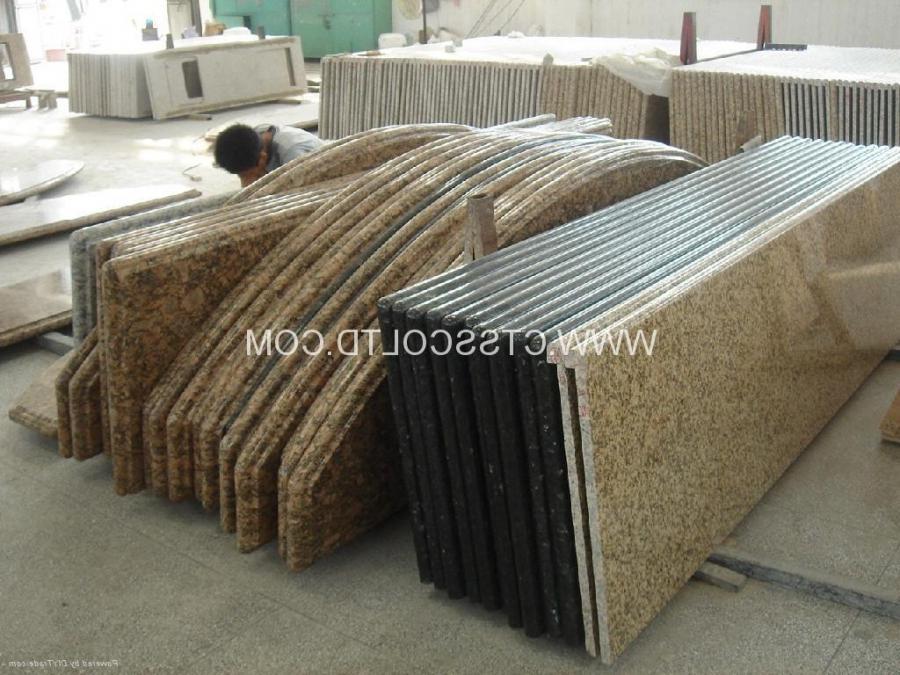 Beautiful Brown Granite Tile Countertop Design Idea with Oranges,...
