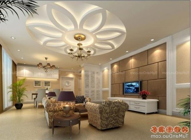 Stylish modern ceiling designs for living room with TV and white...