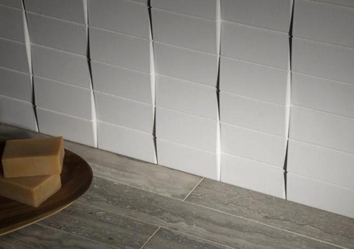 Above: The aptly named Distortion Mosaic Tiles are glazed...