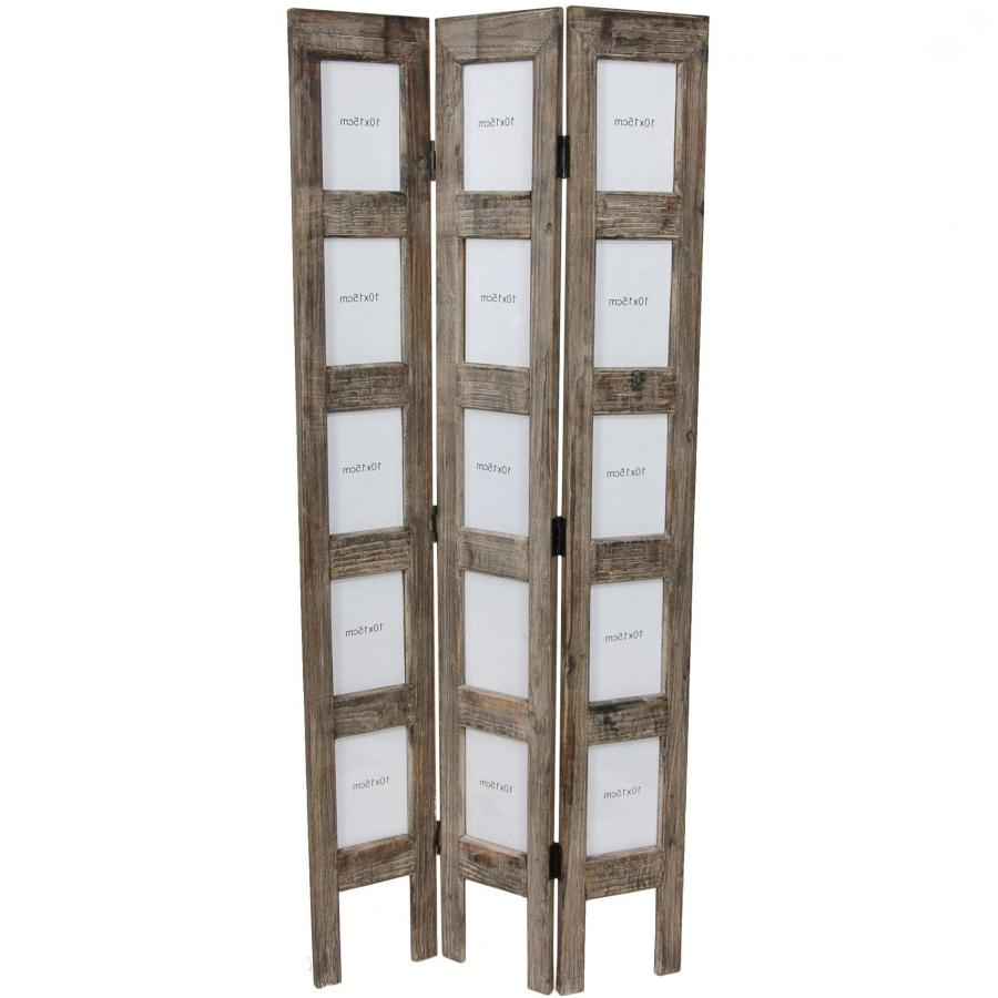 5 ft multi photo wood room divider screen for Stand alone outdoor privacy screen