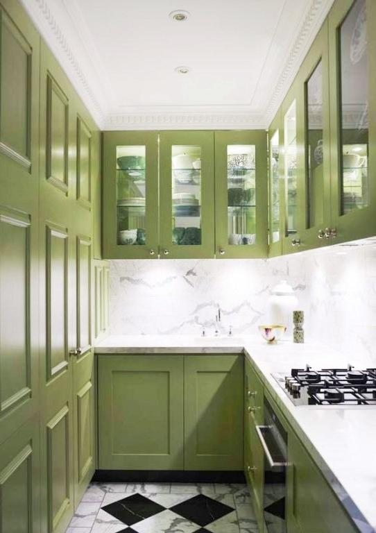 small gallery kitchen galley kitchen with avocado green cabinets,...