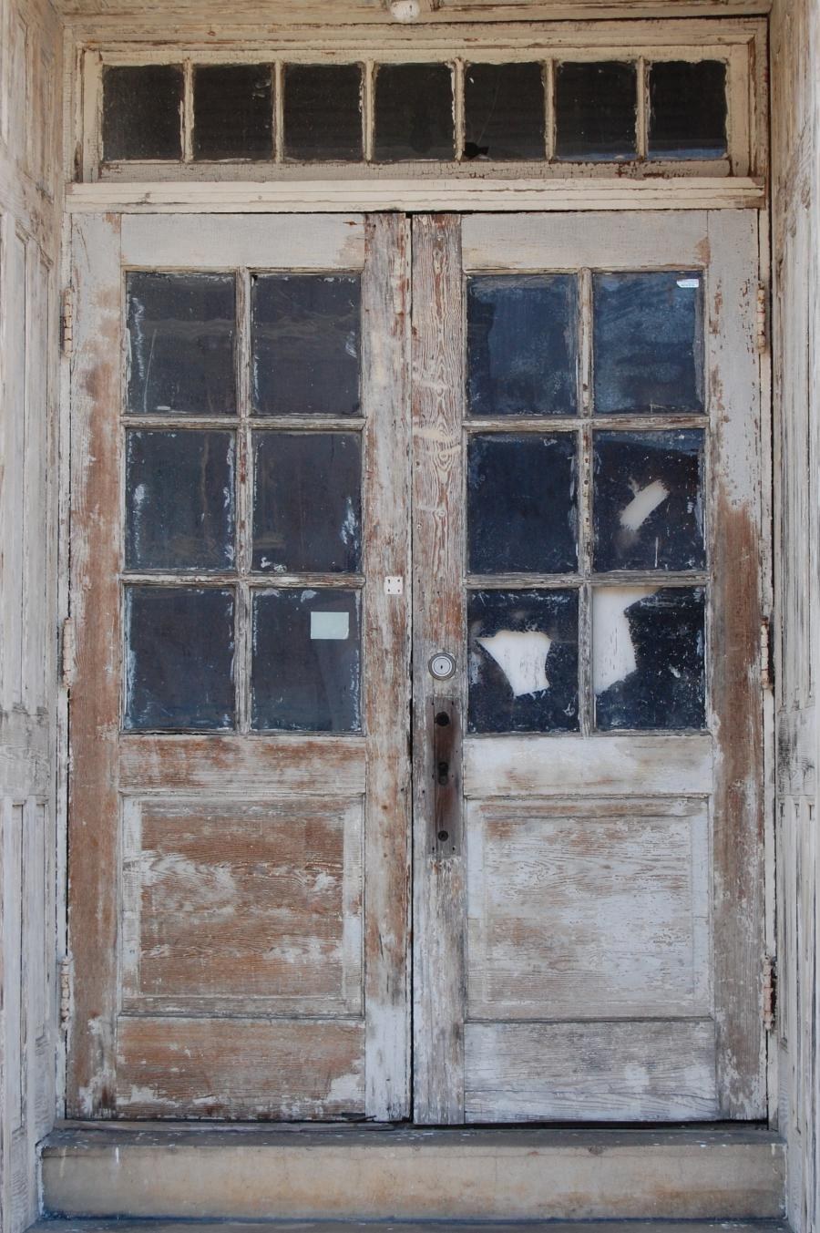 Old double French doors (6 lites each), with hinges on the...