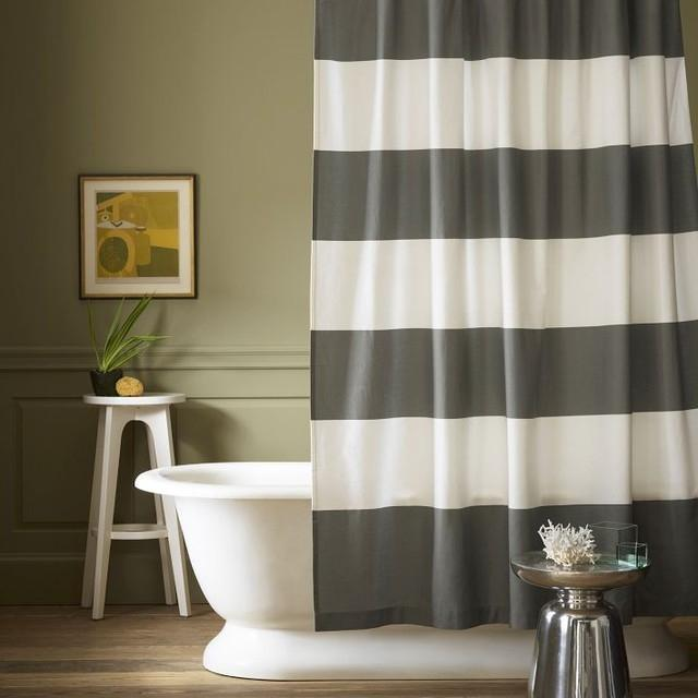 Stripe Shower Curtain, Feather Gray contemporary-shower-curtains