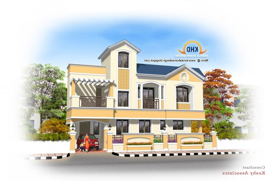 South indian house plans with photos exterior for South indian home designs and plans