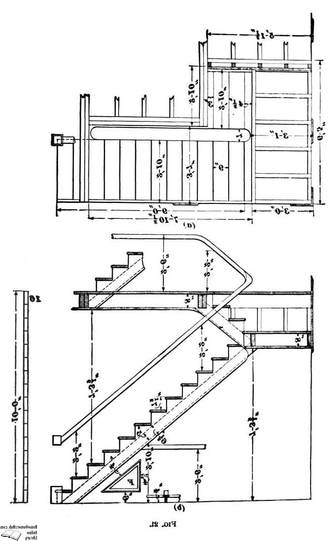 The plan and the elevation of a half-turn platform stairway.