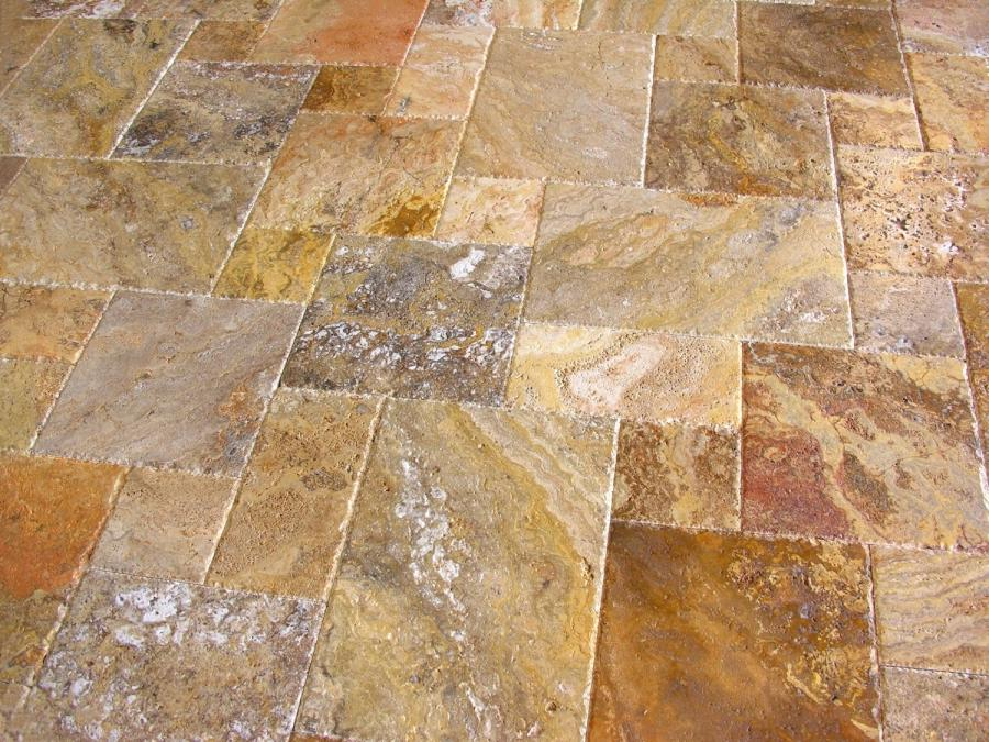 Tumbled travertine tile floor