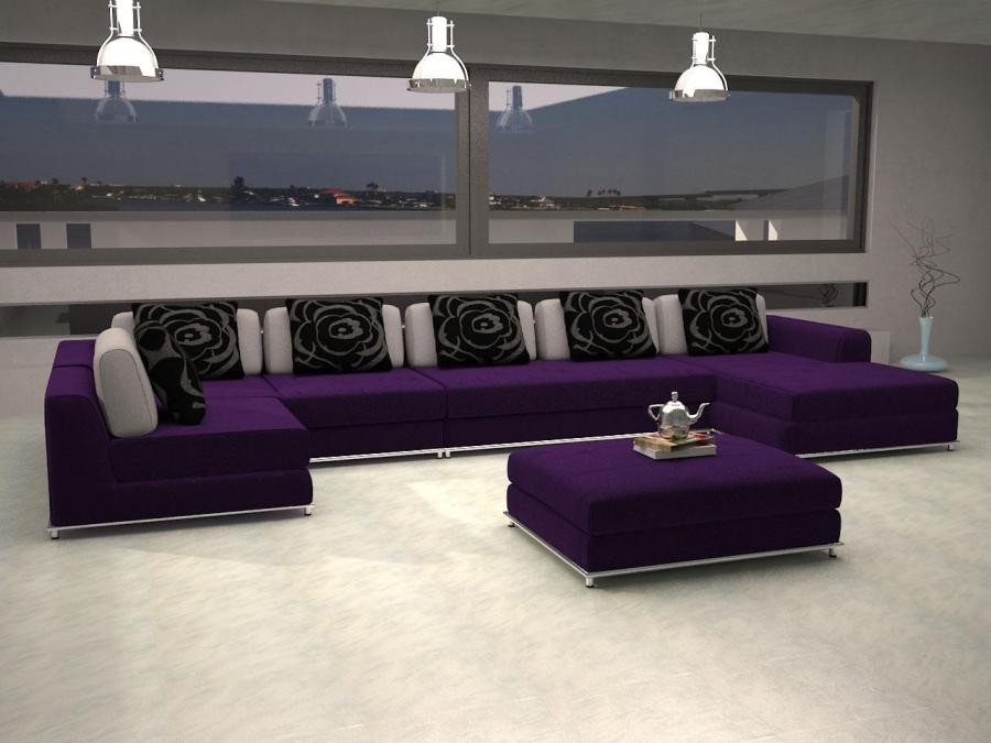 Furniture, San Francisco Purple Sofa Design With Black Cushion...