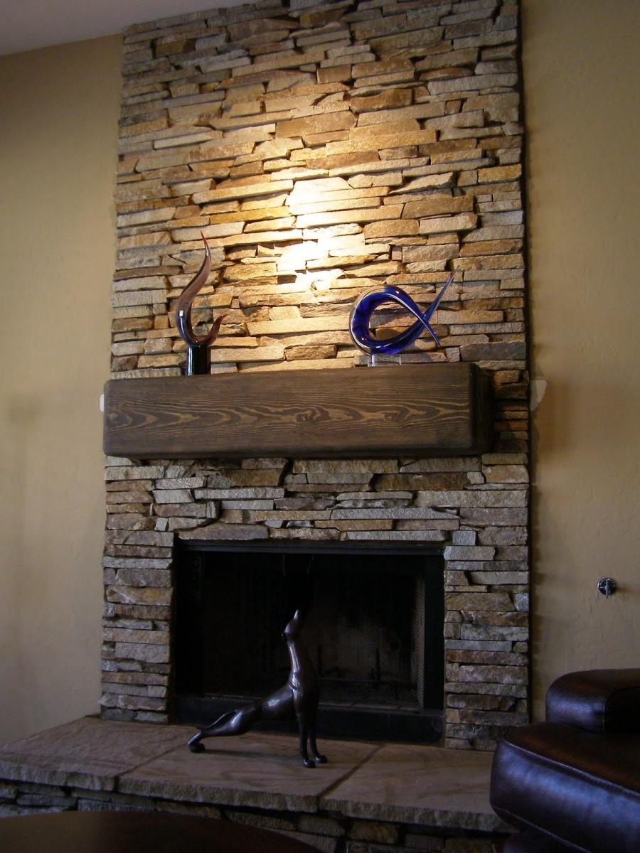 ... stacked stone fireplace ...