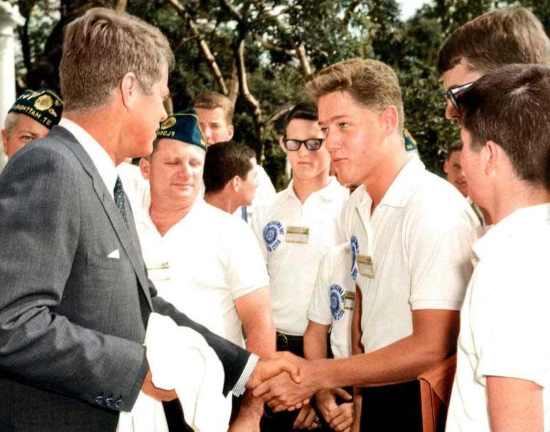 A 16 year old Bill Clinton meeting John F. Kennedy at the White...