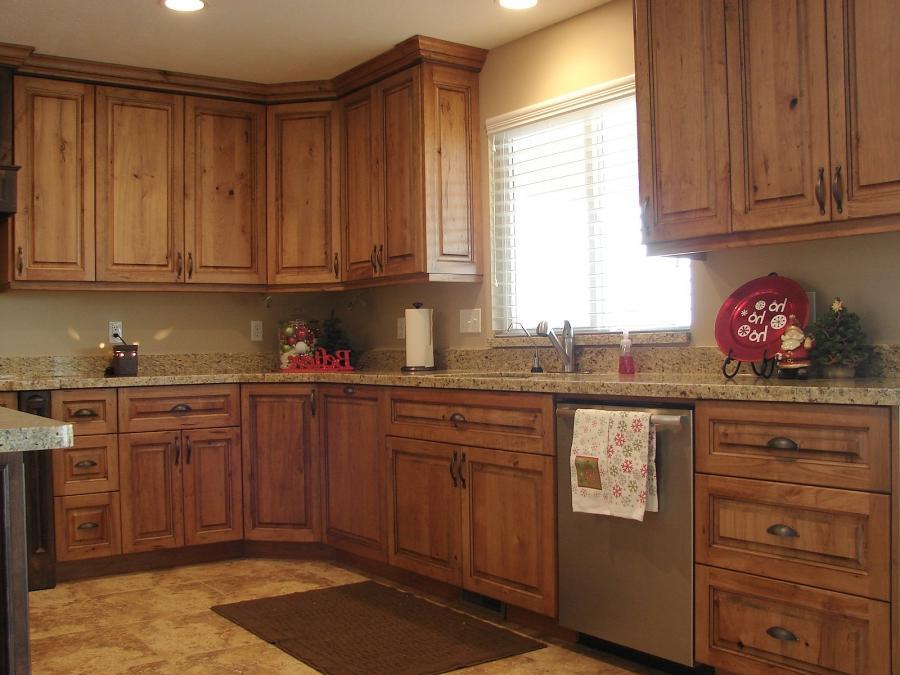 Dark Granite Countertops With Oak