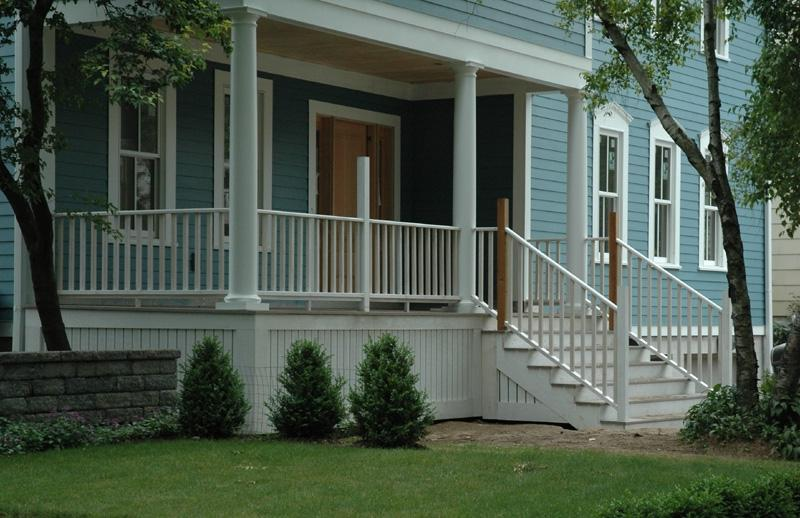 Front porch with railing.