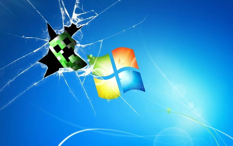 Creeper Broken Screen: Desktop Wallpaper Photo