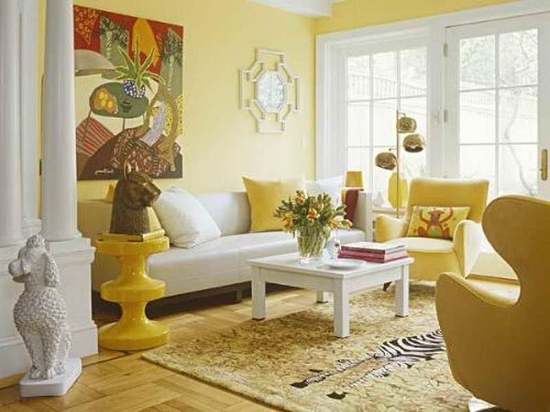 Wohnzimmer gelb orange