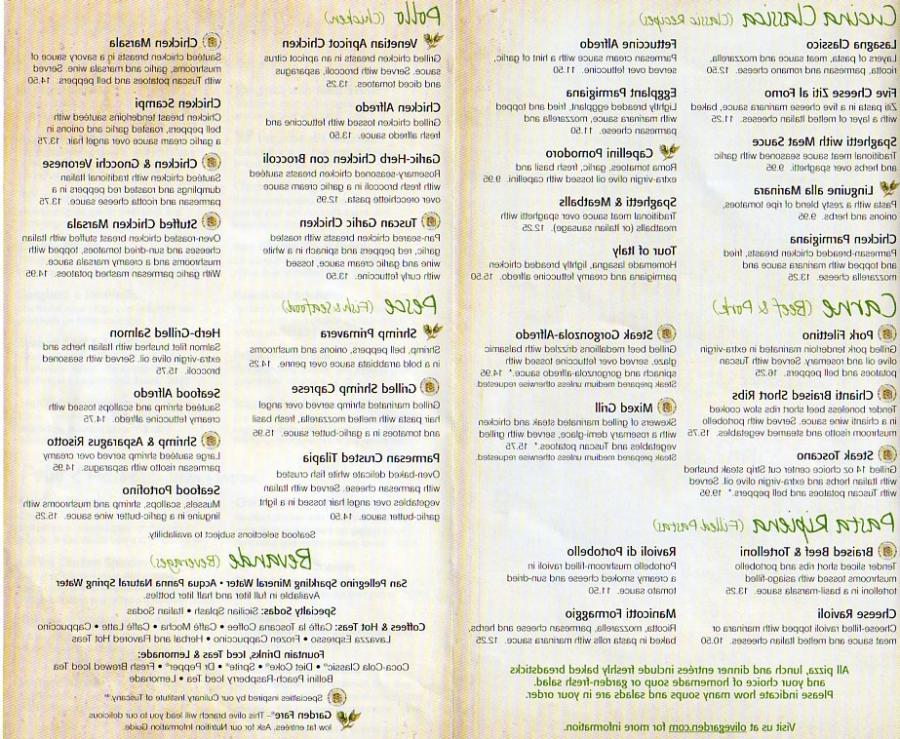 Olive garden light menu for Olive garden light menu