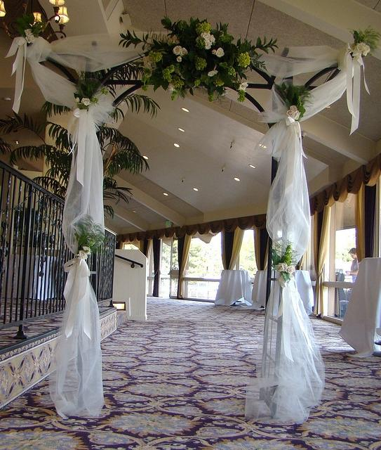 Wedding Arch Decorated With Tulle: Tulle Arch Decorations Photos