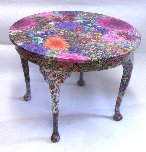 Fabric Decoupage Furniture Photos